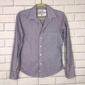 Frank & Eileen Barry Striped Shirt Sz XS Purple